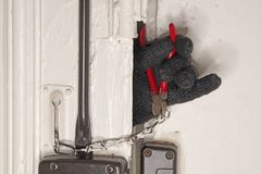 Zwingen Sie ein Türschloss stockbilder