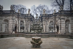 Zwinger. Fountain in Zwinger, Dresden, Germany (Winter Royalty Free Stock Photography