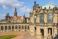Zwinger with Carillon Pavilion and Castle in Dresden, Saxony Germany. stock images