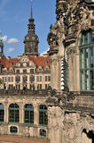 Zwinger and castle, dresden. Foreshorten of  baroque museum building with castle in background,  dresden, the buildings has been  rebuilt after second world war Royalty Free Stock Image