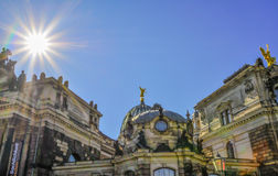 Zwinger museum area in Dresden. Germany on a sunny day with blue Stock Photos