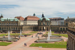 The Zwinger palace and the Dresden castle. A view of the The Zwinger complex at the historical center of Dresden, Germany stock image