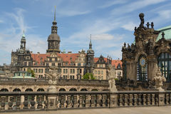 The Zwinger palace and the Dresden castle. A view of the The Zwinger complex and the Dresden castle at the historical center of Dresden, Germany Royalty Free Stock Images