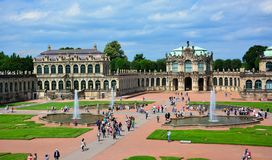 Dresden / Germany — August 11, 2013: the panorama of Zwinger, a baroque royal palace in Dresden, Saxony, Germany royalty free stock photography