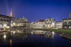 Zwinger Palace, museum complex in Dresden. Zwinger Palace at night, museum complex and most visited monument in Dresden, Germany Stock Image