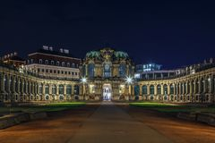 Palace Zwinger in Dresden,Saxony,Germany. The Zwinger is a palace in Rococo style in Dresden at night, Saxony,Germany Royalty Free Stock Photography