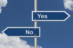 Zwischen ja entscheiden und nein Lizenzfreies Stockfoto