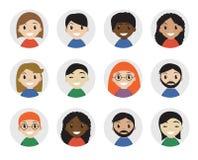 Zwischen verschiedenen Rassen Leute der Ikonen, flache Art International, Avatara Unterschiedliche Ikone Auch im corel abgehobene Stockfoto