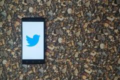 Zwitschern Sie Logo auf Smartphone auf Hintergrund von kleinen Steinen Lizenzfreie Stockfotos
