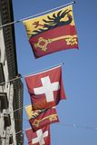 Zwitser en Vaud Vlaggen, Genève Stock Afbeelding