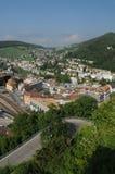 Zwitserland: De mening aan de oude stad van Baden City in kanton Aargau stock foto's