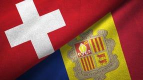 Zwitserland en Andorra twee vlaggen textieldoek, stoffentextuur vector illustratie
