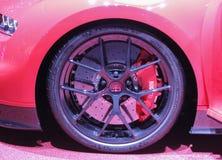 Zwitserland; Genève; 8 maart, 2018; De Sport van Bugatti Chiron whe stock foto's