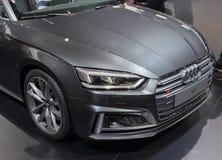 Zwitserland; Genève; 8 maart, 2018; De voorzijde van Audi S5; 88ste Inte Royalty-vrije Stock Fotografie