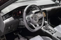 Zwitserland; Genève; 8 maart, 2018; Dichte omhooggaand van Volkswagen s Stock Afbeelding
