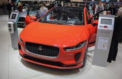 Zwitserland; Genève; 8 maart, 2018; Het oranje Jaguar-I-Tempo; Th royalty-vrije stock foto's