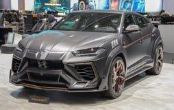 Zwitserland; Genève; 9 maart, 2019; Mansory Lamborghini Urus Ventaus; De 89ste Internationale Motorshow in Genève van zevende tot stock afbeeldingen