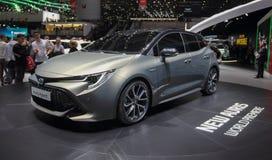 Zwitserland; Genève; 8 maart, 2018; Toyota Auris Hybride voorfr Stock Afbeelding