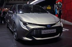 Zwitserland; Genève; 8 maart, 2018; Toyota Auris Hybride voorfr Royalty-vrije Stock Foto's