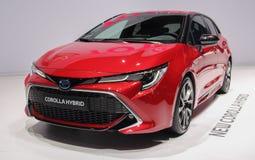 Zwitserland; Genève; 9 maart, 2019; Toyota Corolla-Hybride; De 89ste Internationale Motorshow in Genève van zevende tot 17 van Ma royalty-vrije stock foto's
