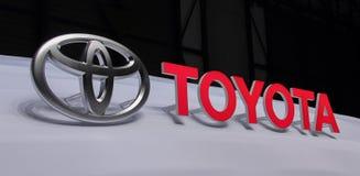 Zwitserland; Genève; 8 maart, 2018; Toyota-embleem met brieven; Stock Afbeelding