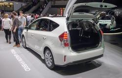 Zwitserland; Genève; 8 maart, 2018; Toyota Prius plus Wagen Hybr Royalty-vrije Stock Fotografie