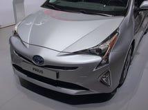 Zwitserland; Genève; 8 maart, 2018; Toyota Prius-voorzijde; De achtentachtigste Royalty-vrije Stock Foto's