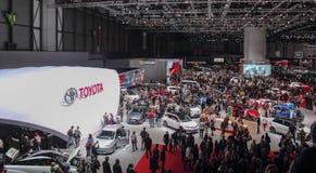 Zwitserland; Genève; 8 maart, 2018; Toyota-tentoonstellingstribune; Th Stock Afbeelding