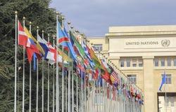 Zwitserland; Genève; 9 maart, 2018; Twee rijen van Verenigde Natio stock afbeelding