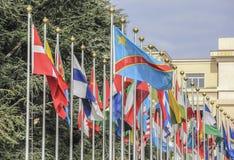 Zwitserland; Genève; 9 maart, 2018; Twee rijen van Verenigde Natio stock foto's