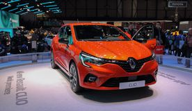 Zwitserland; Gen?ve; 9 maart, 2019; Renault Clio World-premi?re; De 89ste Internationale Motorshow in Gen?ve van zevende tot zeve stock afbeeldingen