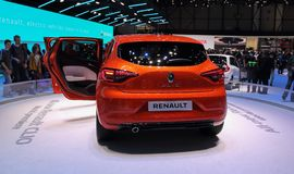 Zwitserland; Gen?ve; 9 maart, 2019; Renault Clio World-premi?re; De 89ste Internationale Motorshow in Gen?ve van zevende tot zeve royalty-vrije stock foto's