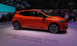 Zwitserland; Gen?ve; 9 maart, 2019; Renault Clio World-premi?re; De 89ste Internationale Motorshow in Gen?ve van zevende tot zeve stock foto