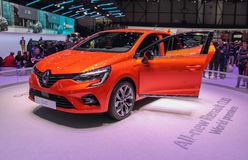 Zwitserland; Gen?ve; 9 maart, 2019; Renault Clio World-premi?re; De 89ste Internationale Motorshow in Gen?ve van zevende tot zeve royalty-vrije stock afbeeldingen