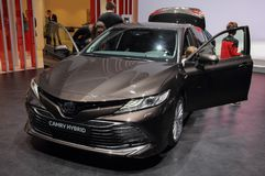 Zwitserland; Gen?ve; 9 maart, 2019; Toyota Camry-Hybride; De 89ste Internationale Motorshow in Gen?ve van zevende tot 17 van Maar royalty-vrije stock fotografie