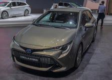 Zwitserland; Gen?ve; 9 maart, 2019; Toyota Corolla-Hybride; De 89ste Internationale Motorshow in Gen?ve van zevende tot 17 van Ma royalty-vrije stock afbeelding