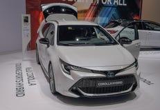 Zwitserland; Gen?ve; 9 maart, 2019; Toyota Corolla-Hybride; De 89ste Internationale Motorshow in Gen?ve van zevende tot 17 van Ma royalty-vrije stock foto's