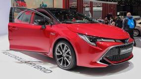 Zwitserland; Gen?ve; 9 maart, 2019; Toyota Corolla-Hybride; De 89ste Internationale Motorshow in Gen?ve van zevende tot 17 van Ma stock foto