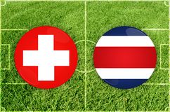 Zwitserland versus Costa Rica-voetbalwedstrijd vector illustratie