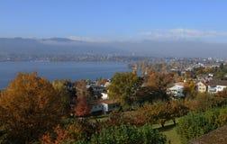 Zwitserland: ZÃ ¼ rijk-Seefeld op de pensionair van het meer royalty-vrije stock foto