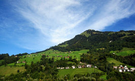 Zwitsers dorp op helling Stock Fotografie