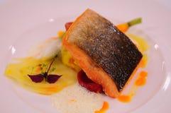 Zwitserse alpen: Gastronomisch voedsel bij het Grote Hotel Kronenhof in Pontres royalty-vrije stock foto