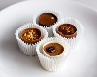 Zwitserse chocoladepralines op een witte plaat Stock Foto