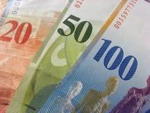 Zwitserse francks van bankbiljetten stock afbeeldingen