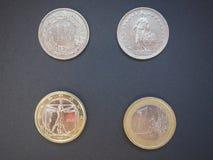 Zwitserse franken en Euro Royalty-vrije Stock Afbeeldingen
