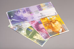 Zwitserse franken, munt van Zwitserland Stock Foto