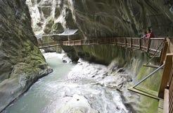Zwitserse Gorges du Trient Stock Fotografie