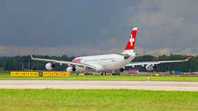 A-340 Zwitserse Lucht Stock Foto