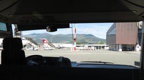 Zwitserse luchtroutesvliegtuigen Stock Afbeeldingen