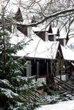 Zwitserse plattelandshuisjes in de winter Stock Afbeeldingen